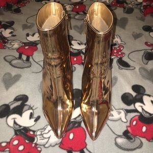 Bronze/ gold ankle boots
